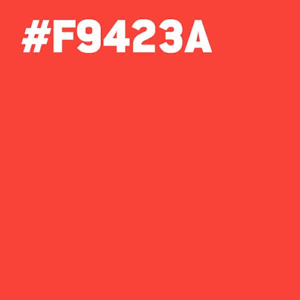 A red square with hex code F9423A.