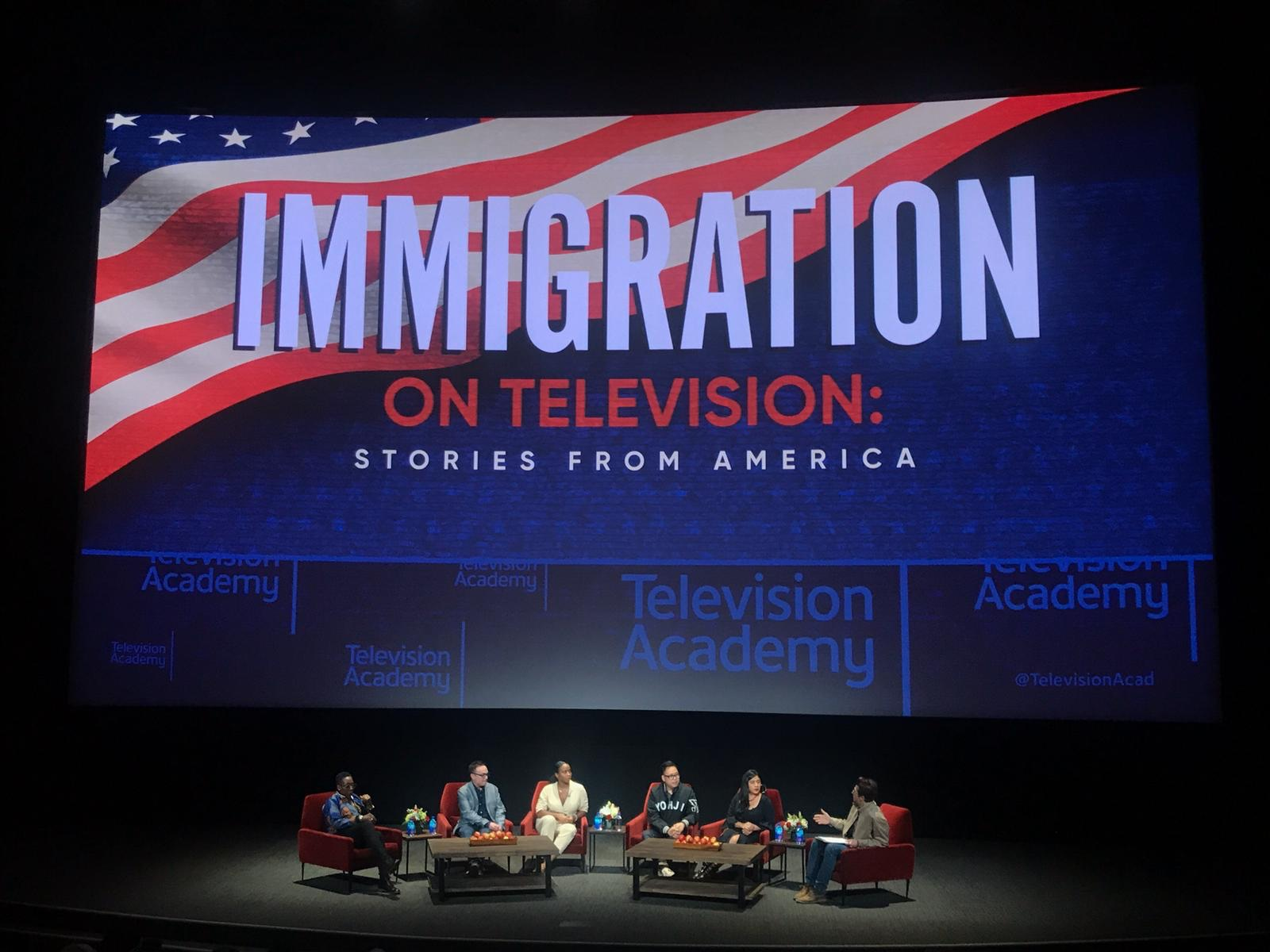 Noelle Lindsay Stewart speaking on a panel at Television Academy.